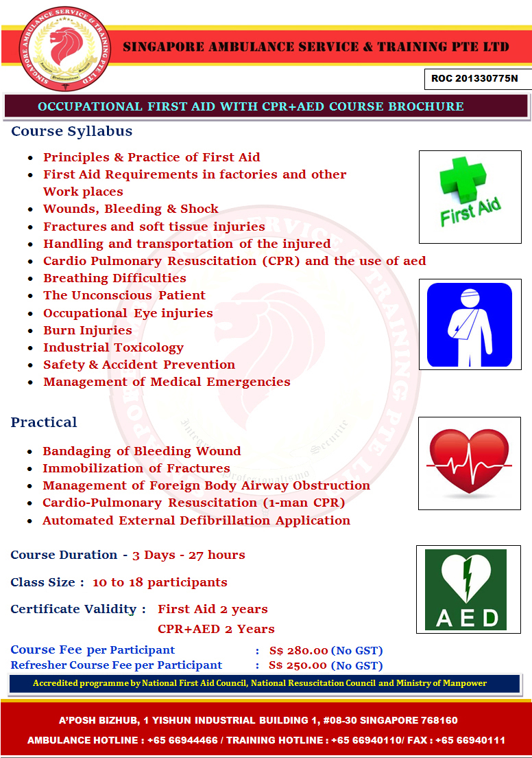 Occupational first aid course with cpraed singapore ambulance occupational first aid course with cpraed xflitez Image collections
