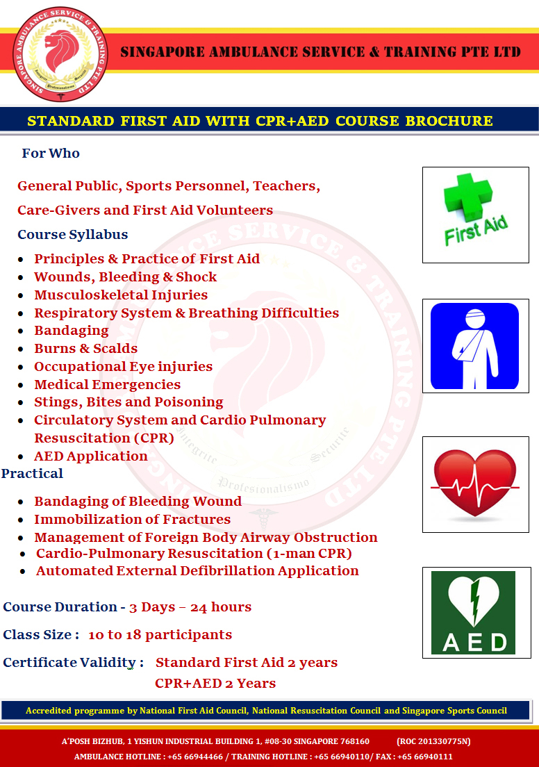 Standard First Aid With Cpraed Course Singapore Ambulance Service